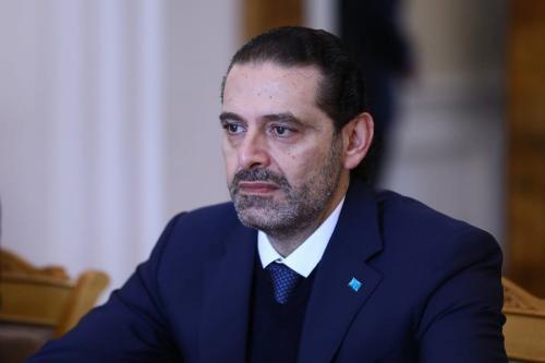 Primeiro-ministro libanês designado Saad Hariri em Moscou, Rússia, em 16 de abril de 2021 [Ministério das Relações Exteriores da Rússia/Agência Anadolu].