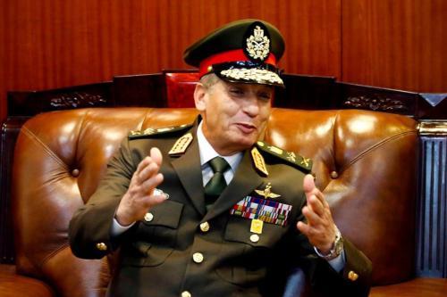 O ministro da Defesa do Egito, Mohamed Zaki, em Cartum, em 25 de novembro de 2018 [Shraf Shazly/AFP/Getty Images]