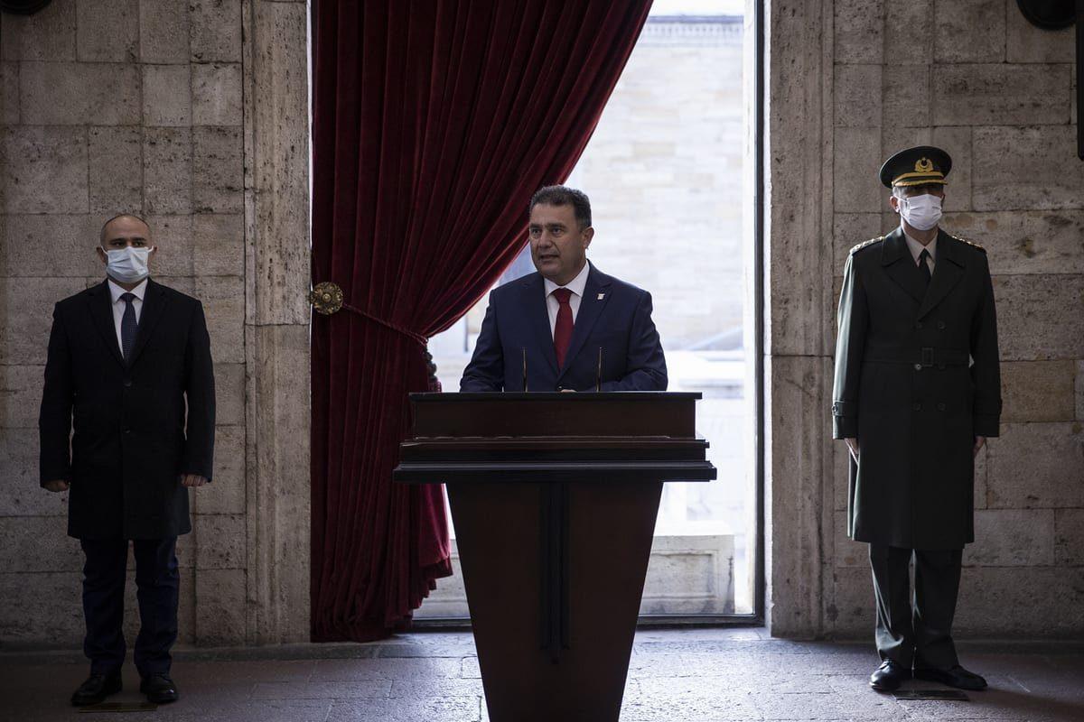 O primeiro-ministro da República Turca do Chipre do Norte, Ersan Saner, em Ancara, Turquia, em 23 de dezembro de 2020 [Özge Elif Kızıl/Agência Anadolu]