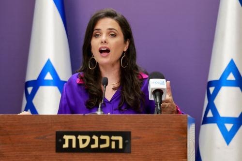 Ministra do Interior de Israel Ayelet Shaked em Jerusalém ocupada, 5 de julho de 2021 [MENAHEM KAHANA/AFP/Getty Images]