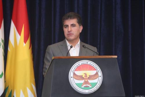 Nechirvan Barzani, presidente do Curdistão iraquiano, fala com a imprensa sobre a abertura das eleições gerais em Erbil, Iraque, 10 de outubro de 2021 [Ahsan Mohammed Ahmed Ahmed/Agência Anadolu]