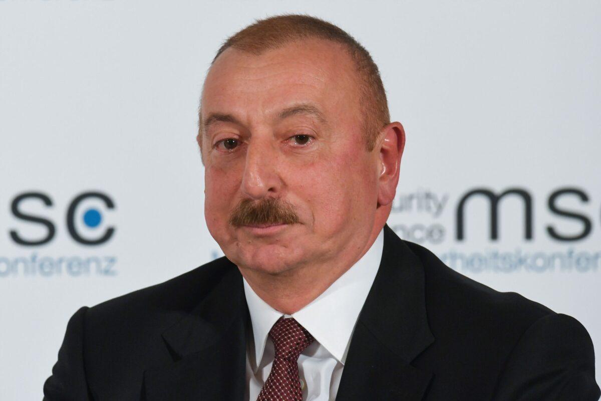 Presidente do Azerbaijão, Ilham Aliyev, em 15 de fevereiro de 2020 [Christof Stache/AFP via Getty Images]