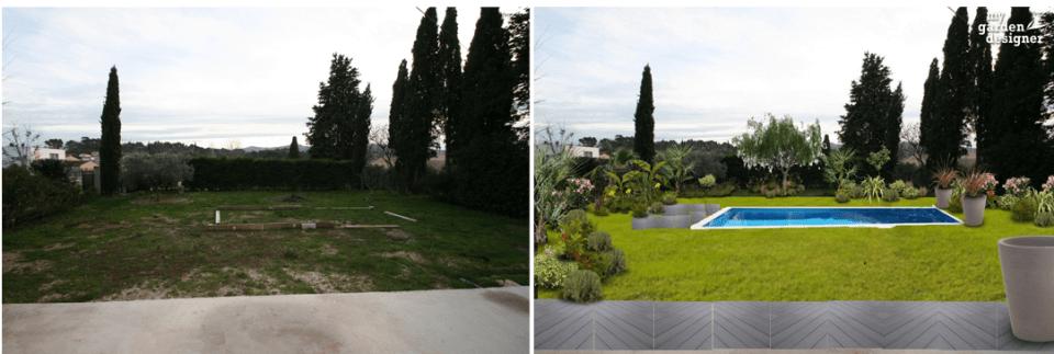 aménagement d'une piscine mediterranéo provencale contemporaine avant_apres