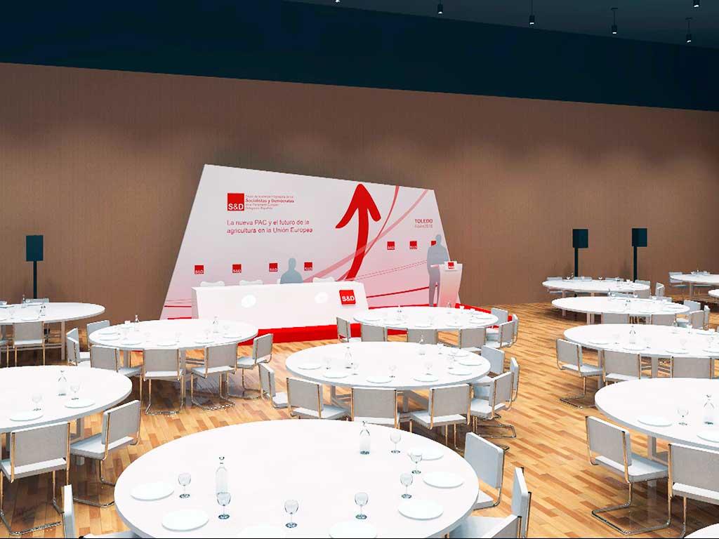 vista del diseño global del evento desde las mesas