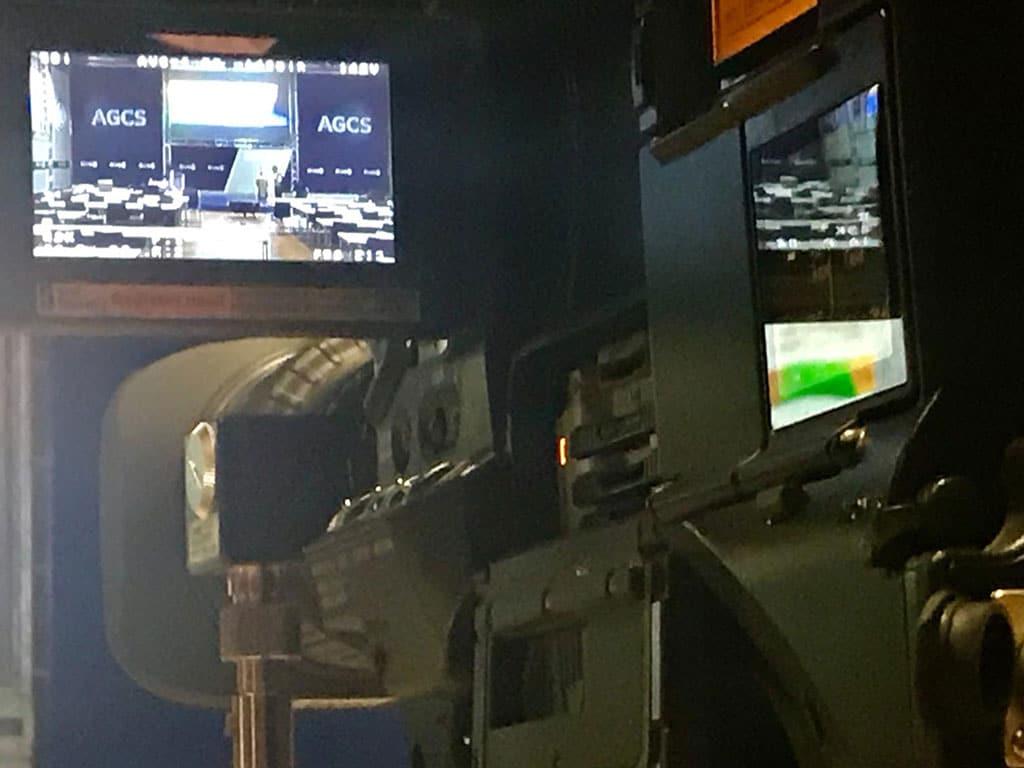 Vista del encuadre de una de las cámaras durante el evento corporativo de Allianz