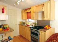 Crantock Holiday Home kitchen serving at Monkey Tree Holiday Park near Newquay