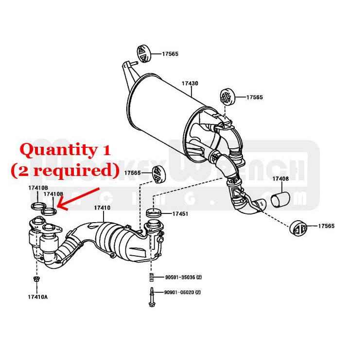 toyota oem exhaust manifold outlet gasket mr2 s