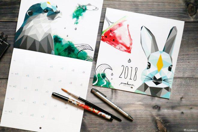 Monkimia Kalender 2018 geometrische Formen Tiere