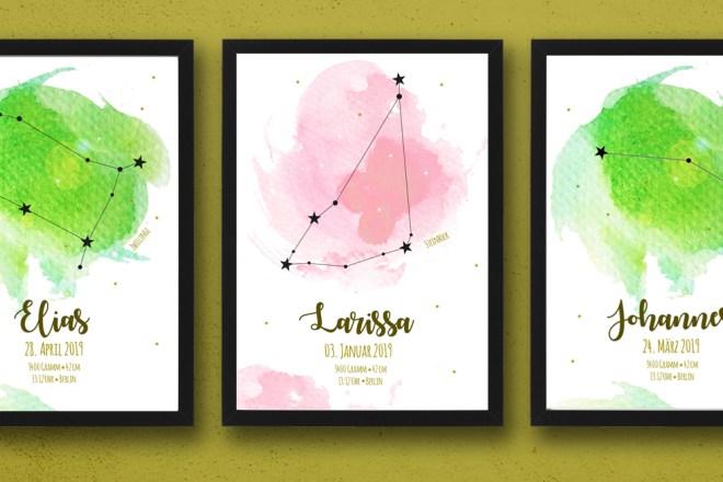 Geburtsanzeigen A4 Poster