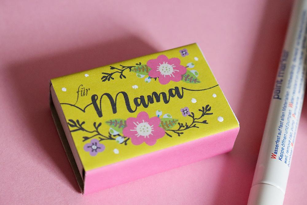 Streichholzschachtel Muttertagsgeschenk DIY