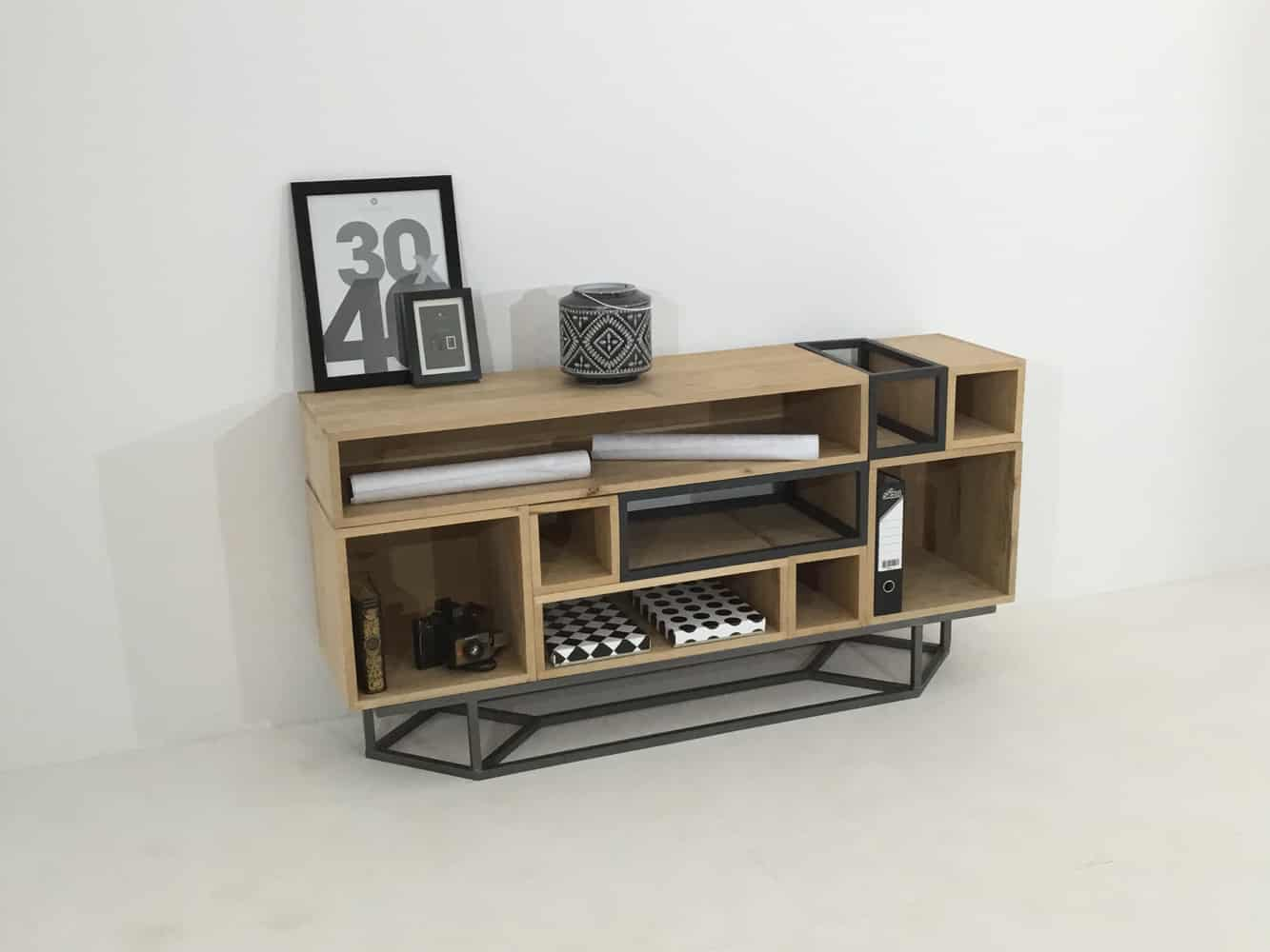 meuble bois et metal nine