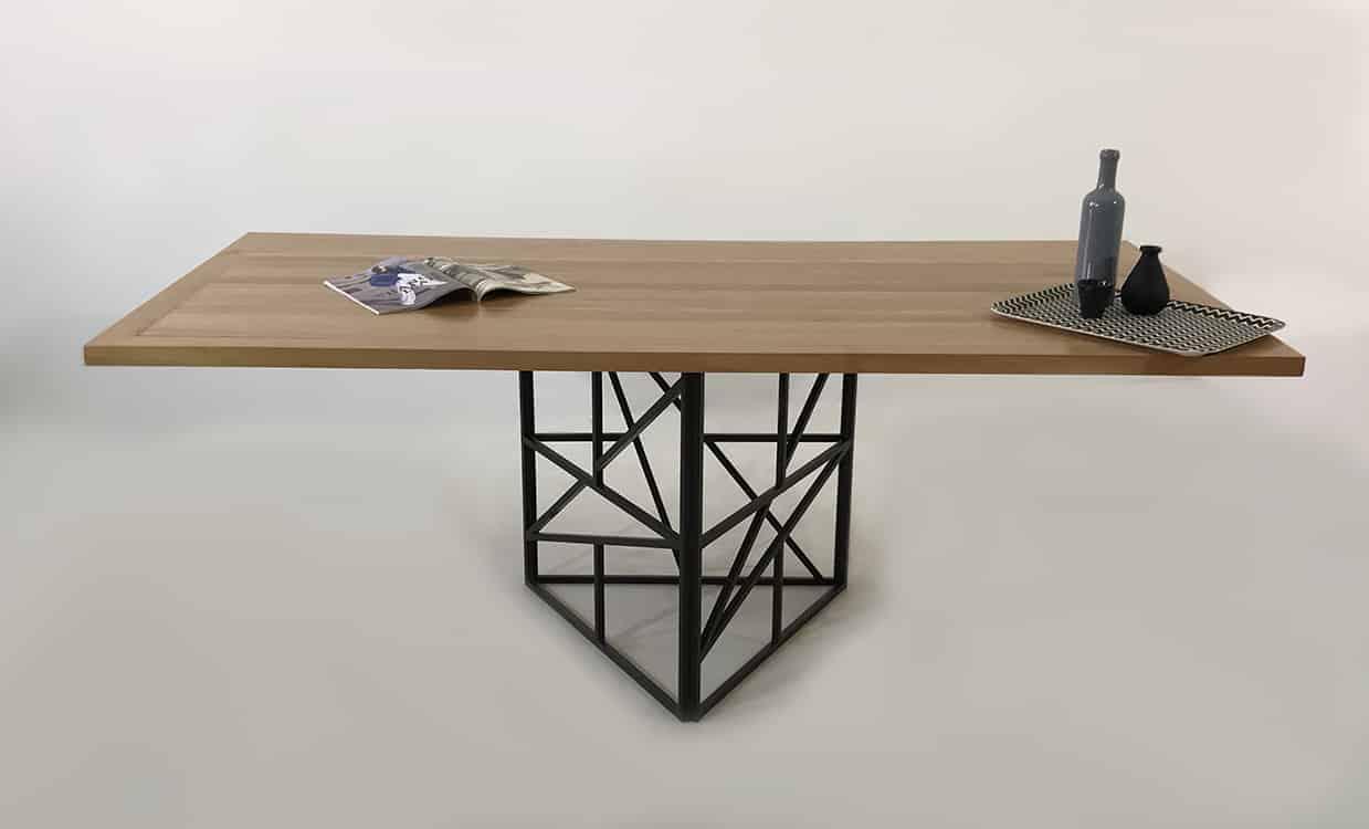 table repas bois metal cross triangle