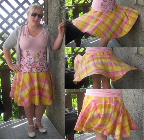 Yellow plaid circle skirt