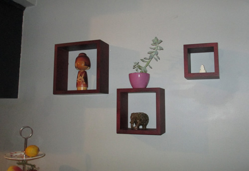 Shelf-box cubes in the kitchen