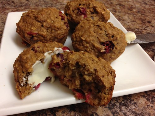 Cranberry-Orange muffins with oats and applesauce