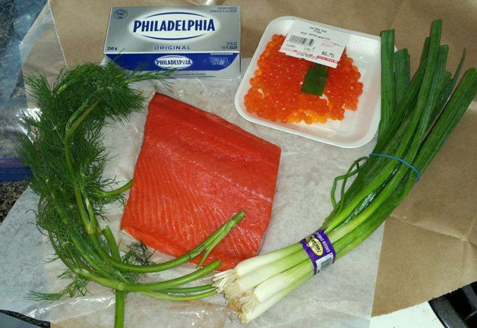 Salmon Pate ingredients - cream cheese, salmon, roe, fresh dill, and green onions