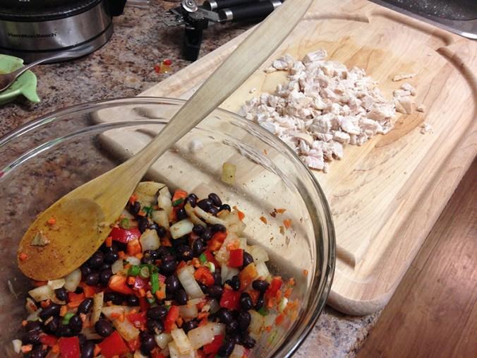 Prepping the enchiladas
