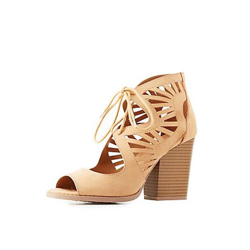 Laser Cut Lace-Up Sandals  Chunky heel, check, sexy cuto