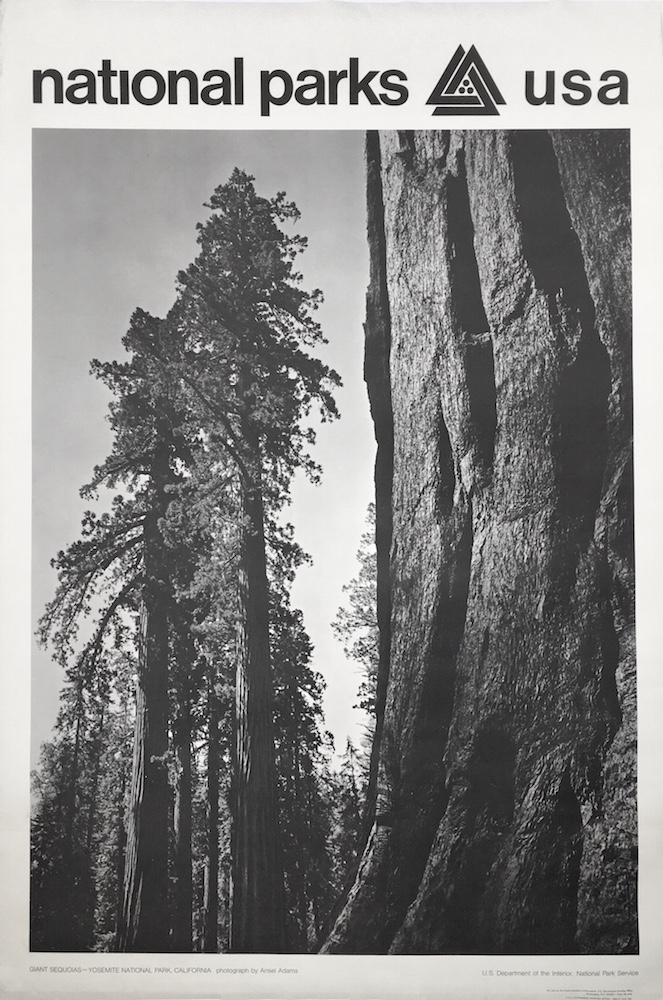 national parks poster giant sequoias at yosemite national park photo by ansel adams 1968 by ansel adams on monograph bookwerks