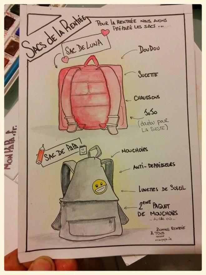 [Pour la rentrée nous avons préparé les sacs ...] SAC DE LUNA -Doudou -Sucette -Chaussons -Jojo (doudou pour la sieste) SAC DE PAPA -Mouchoirs -Antidépresseurs -Lunettes de soleil -2ème paquet de mouchoirs, au cas où ... Bonne rentrée à TOUS
