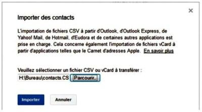 importer des contacts via Gmail