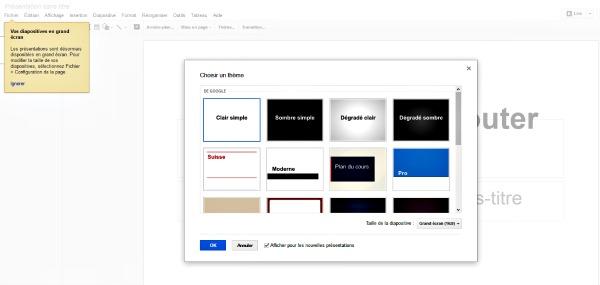 Choisir un thème dans Google Drive