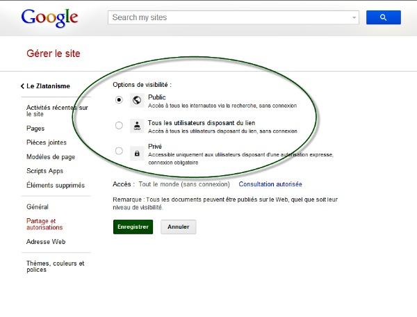 Gérer le site avec Google site