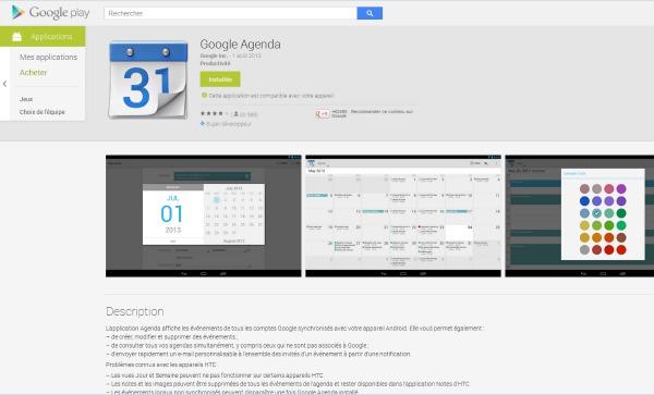 Google Agenda pour mobiles