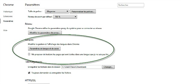 Langues dans Google Chrome