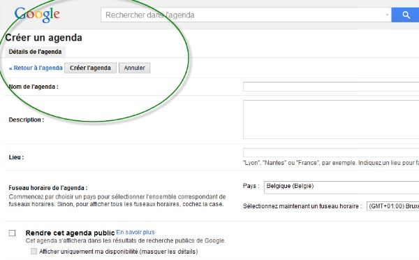 créer un nouvel agenda avec Google Agenda