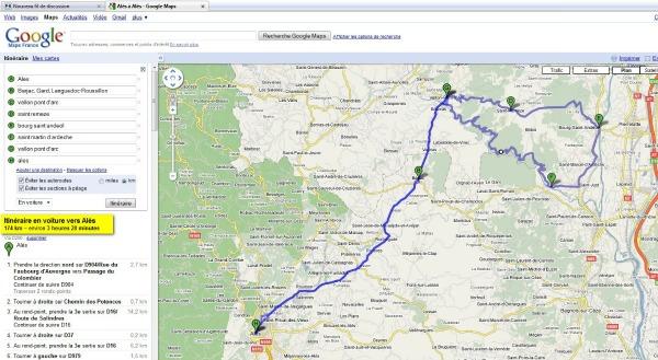imprimer un itinéraire Google Maps
