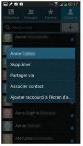 option de gestion des contacts individuels