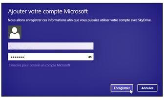 Indiquez vos identifiants de compte Microsoft