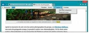 La recherche d'un mot dans un site avec Internet Explorer ouvert sur le Bureau