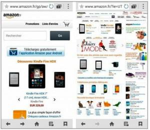 Version mobile et version bureau d'un site Web