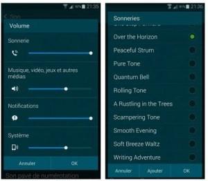 Configurer les options sonores du Galaxy S5