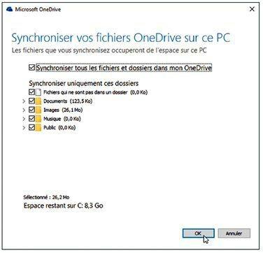 Cochez les dossiers que vous voulez conserver dans votre ordinateur et sur OneDrive
