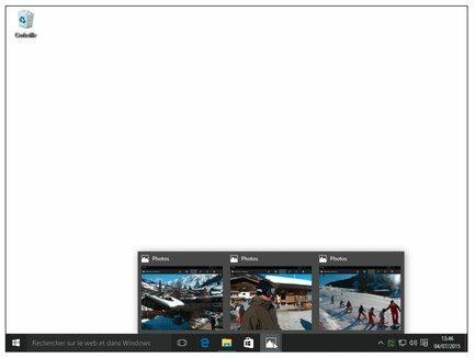 Survolez le bouton dans la barre des tâches pour voir les vignettes des dossiers ou documents ouverts