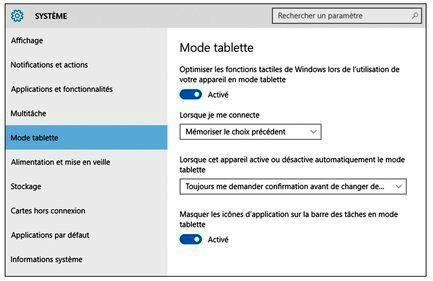 Configurer le mode Tablette sous Windows 10