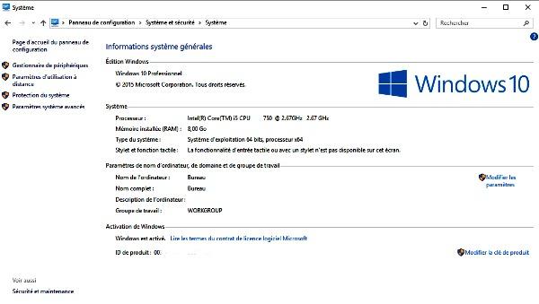 Tableau des infos système générales sur Windows 10