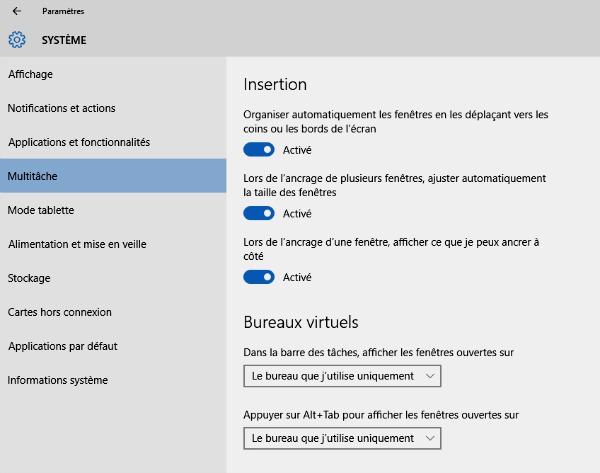 Multitâche Windows 10
