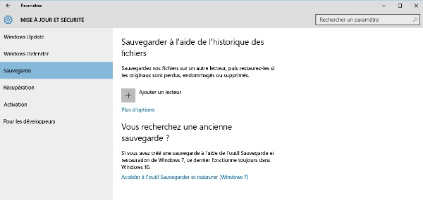Sauvegardez et restaurez windows 10 for Fenetre windows 7 outils