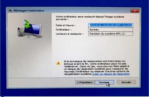 Un dernier clic et laissez travailler l'ordinateur pendant un certain temps