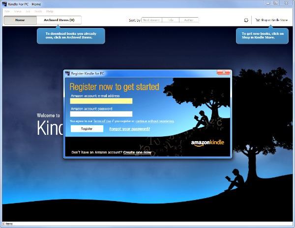 Le logiciel Kindle pour PC du site Amazon