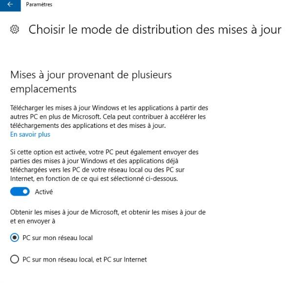 Choisir le mode de distribution des mises à jour Windows 10