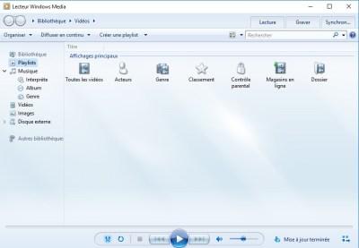 Interface du lecteur Windows