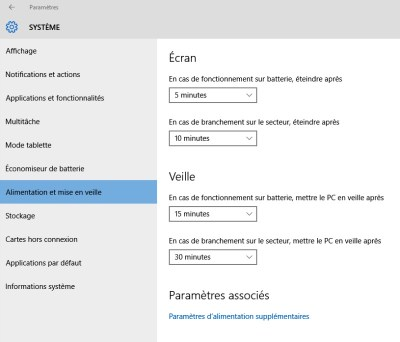 Options alimentation et mise en veille Windows10