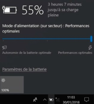 Windows 10 dispose d'une tirette permettant de régler la performance du laptop