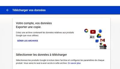 image représentant la possibilité de télécharger les données Google