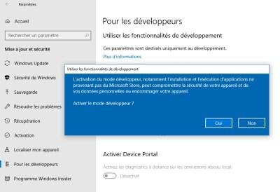 Activer le mode développer sur Windows 10
